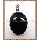 Pandantiv oval onix negru + snur cadou