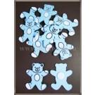 Ursulet bleu lemn - 3cm (10buc)