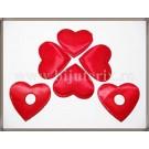Inimioare satin rosu 6cm - 5 buc + 1 cadou