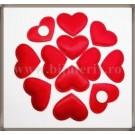 Inimioare satin rosu 3cm - 10 buc + 2 cadou