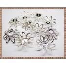 Capacele filigran floare - cosulet 2cm - argintii (10 buc)