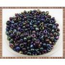 Margele nisip 4mm - negru cu efect metalizat multicolor (50gr)