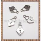 Charm Inimioara-lacat 18mm - argintiu