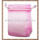 Saculet organza 8,5x7cm roz
