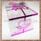 Cutie acetofan - filigran roz-lila cu fundita 7x5,5cm