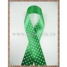 Panglica satin verde cu buline albe 2cm - 1m