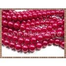 Margele - perle sticla 10mm - rosu sidefat (20buc)