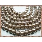 Margele - perle sticla 10mm - maro (cacao cu lapte) sidefat (10buc)