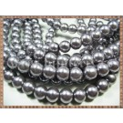Margele - perle sticla 10mm - gri sidefat (10buc)