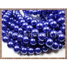 Margele - perle sticla 10mm - albastru sidefat (10buc)