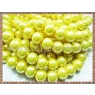 Margele - perle sticla 10mm - galben sidefat (20buc)