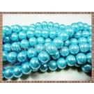 Margele - perle sticla 10mm - turcoaz sidefat (10buc)