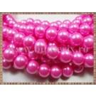 Margele - perle sticla 10mm - roz sidefat (10buc)