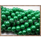 Margele - perle sticla 10mm - verde sidefat (20buc)