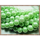 Margele - perle sticla 10mm - verde deschis sidefat (10buc)