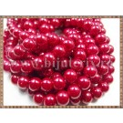 Margele - perle sticla 8mm - rosu sidefat (50buc)
