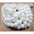 Margele - perle sticla 8mm - alb sidefat (50buc)