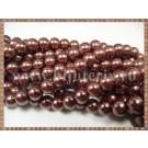 Margele - perle sticla 6mm - maro sidefat (50buc)