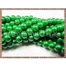 Margele - perle sticla 8mm - verde sidefat (10buc)