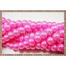 Margele - perle sticla 8mm - roz-fucsia sidefat (50buc)