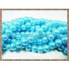 Margele - perle sticla 8mm - turcoaz sidefat (10buc)