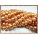 Margele - perle sticla 10mm - portocaliu sidefat (20buc)
