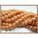 Margele - perle sticla 4mm - portocaliu sidefat (50buc)