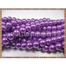 Margele - perle sticla 8mm - mov sidefat (10buc)