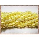 Margele - perle sticla 8mm - galben sidefat (10buc)