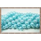Margele - perle sticla 8mm - bleu sidefat (10buc)