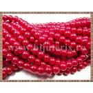 Margele - perle sticla 6mm - rosu sidefat (50buc)