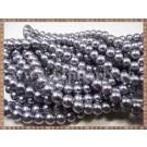 Margele - perle sticla 8mm - gri sidefat (50buc)