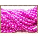 Margele - perle sticla 6mm - roz-fucsia sidefat (50buc)