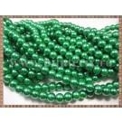 Margele - perle sticla 6mm - verde sidefat (50buc)