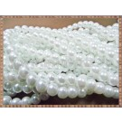 Margele - perle sticla 6mm - alb sidefat (50buc)