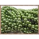 Margele - perle sticla 8mm - verde kaki sidefat (50buc)