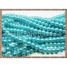 Margele - perle sticla 6mm - turcoaz sidefat (50buc)