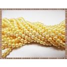Margele - perle sticla 4mm - galben sidefat (50buc)