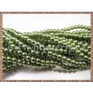 Margele - perle sticla 4mm - verde kaki sidefat (10buc)