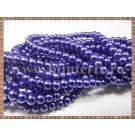 Margele - perle sticla 8mm - albastru sidefat (50buc)