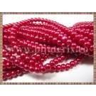 Margele - perle sticla 4mm - rosu sidefat (10buc)