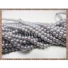 Margele - perle sticla 4mm - gri mat sidefat (10buc)