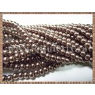 Margele - perle sticla 4mm - maro sidefat (50buc)