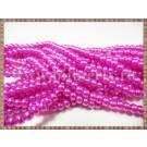 Margele - perle sticla 4mm - roz-fucsia sidefat (50buc)