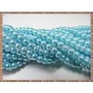 Margele - perle sticla 4mm - bleu sidefat (10buc)