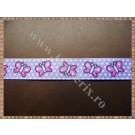 Panglica material textil rips lila cu fluturasi 1,5cm - 1m