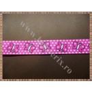 Panglica material textil rips roz cu fluturasi 1,5cm - 1m