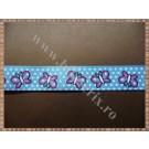 Panglica material textil rips bleu cu fluturasi 1,5cm - 1m