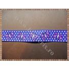 Panglica material textil rips albastru cu fluturasi 1,5cm - 1m