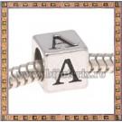 Margica argintie 6.4mm Litera A